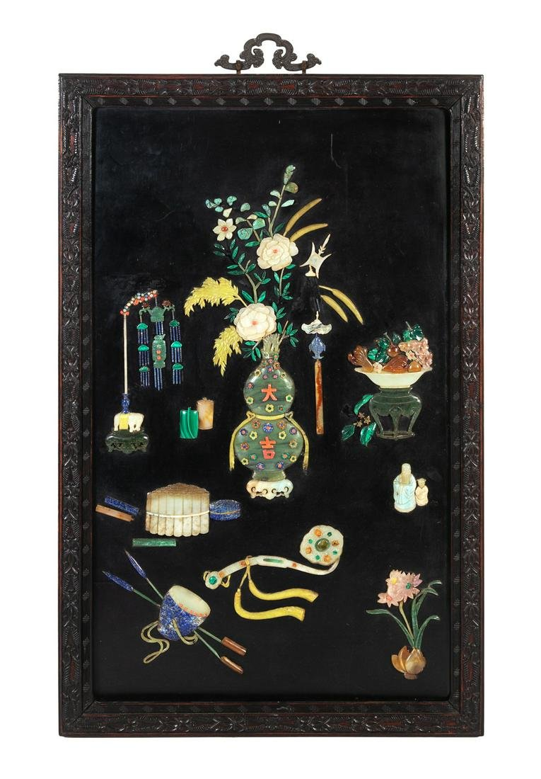 A Chinese Hardstone Inset Black Lacquered Rosewood Wall