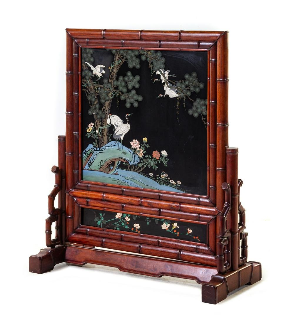 A Large Chinese Painted and Black Lacquered Hardwood