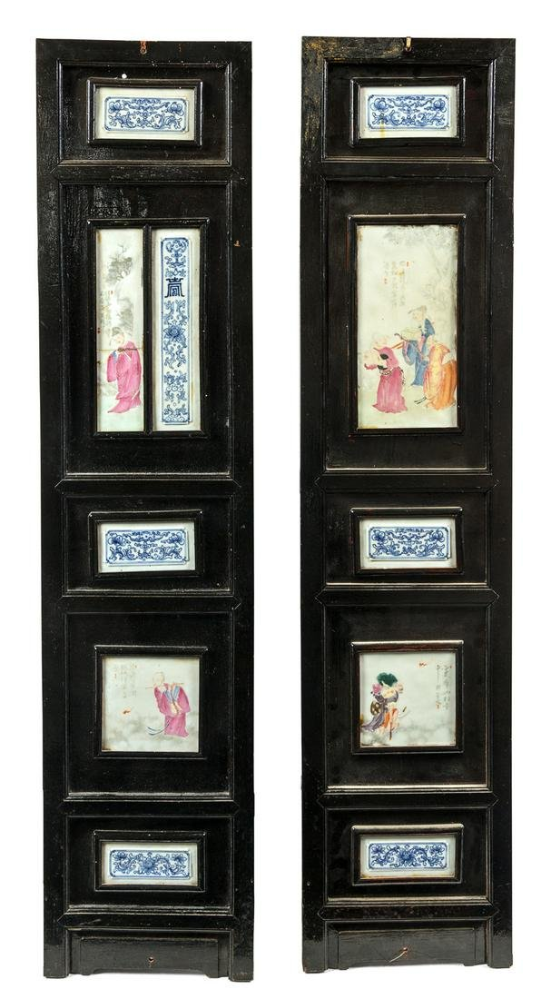 Two Chinese Porcelain Inset Hardwood Wall Panels Height
