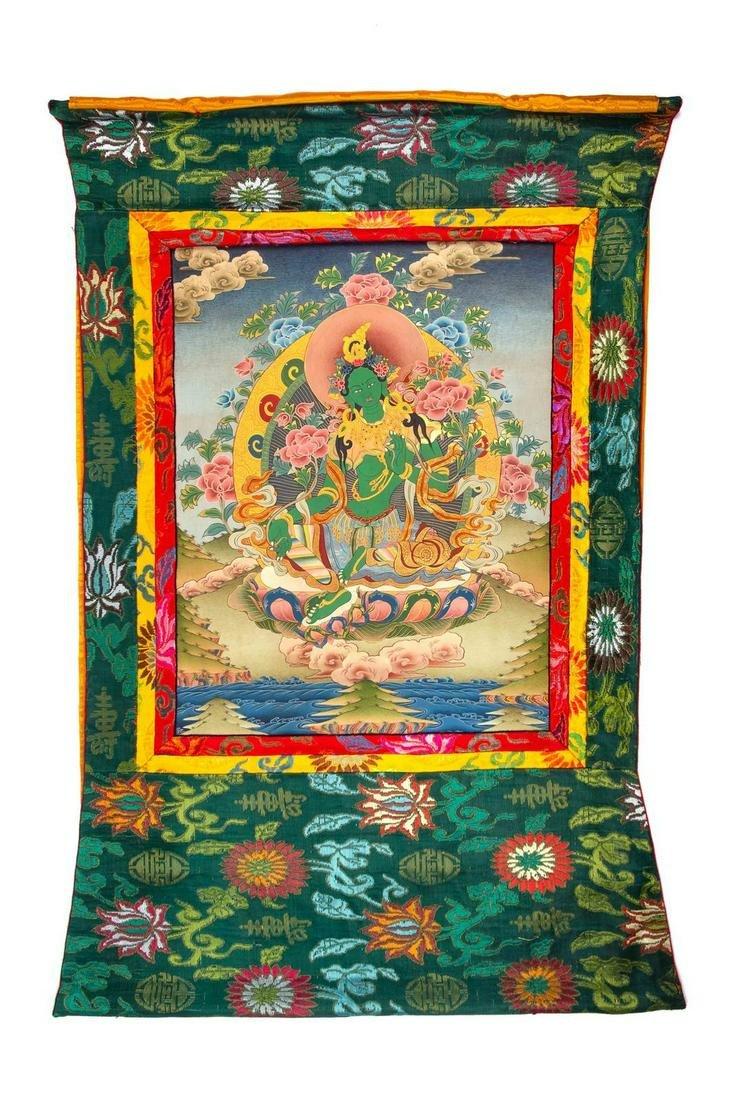 A Tibetan Thangka Height 23 1/2 x 18 in., 60 x 46 cm.