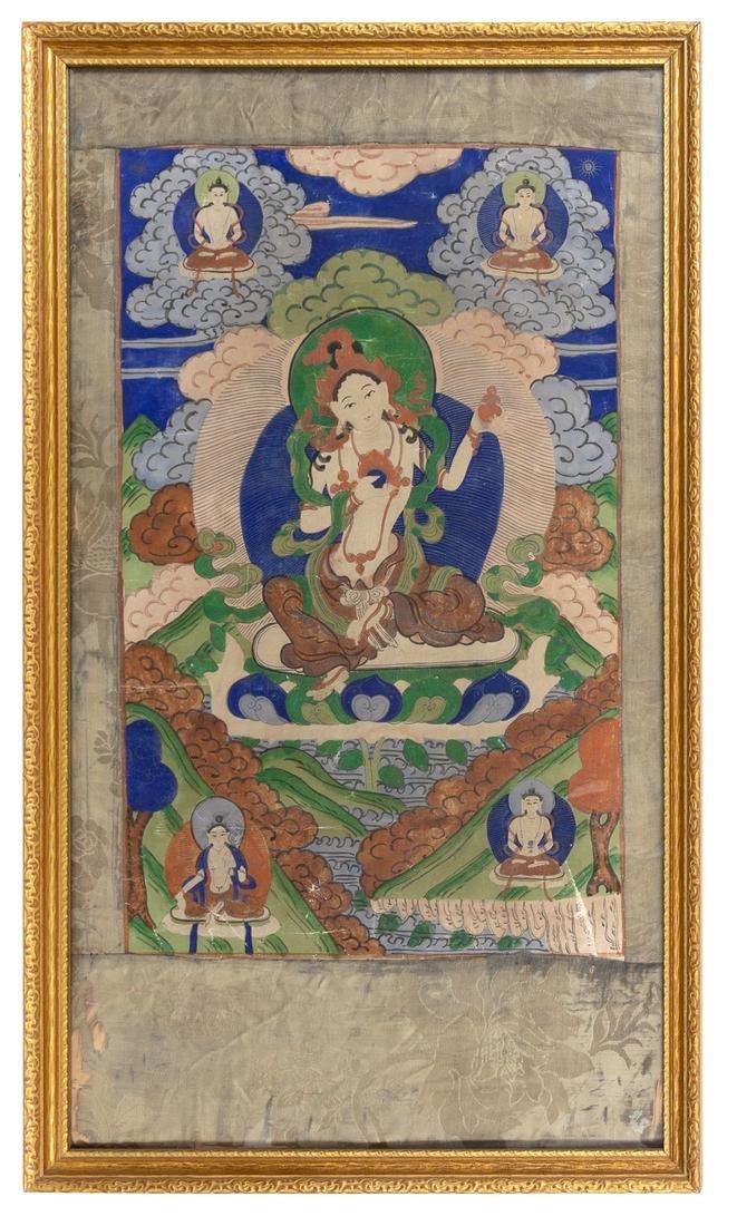 A Tibetan Thangka Image: height 28 height x 16 width