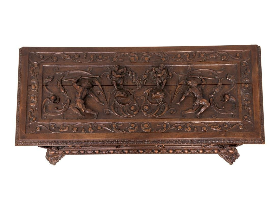A Spanish Renaissance Revival Style Carved Cassone