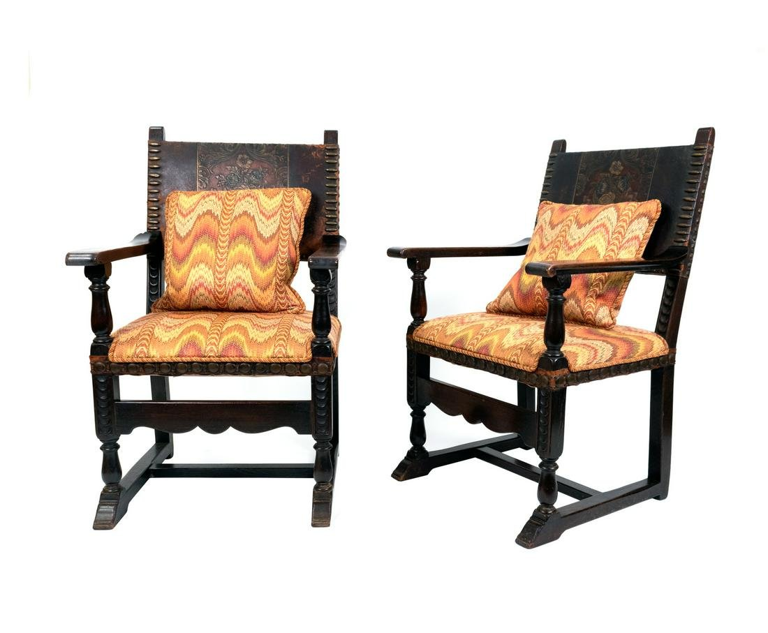 A Pair of Renaissance Revival Carved Oak Armchairs