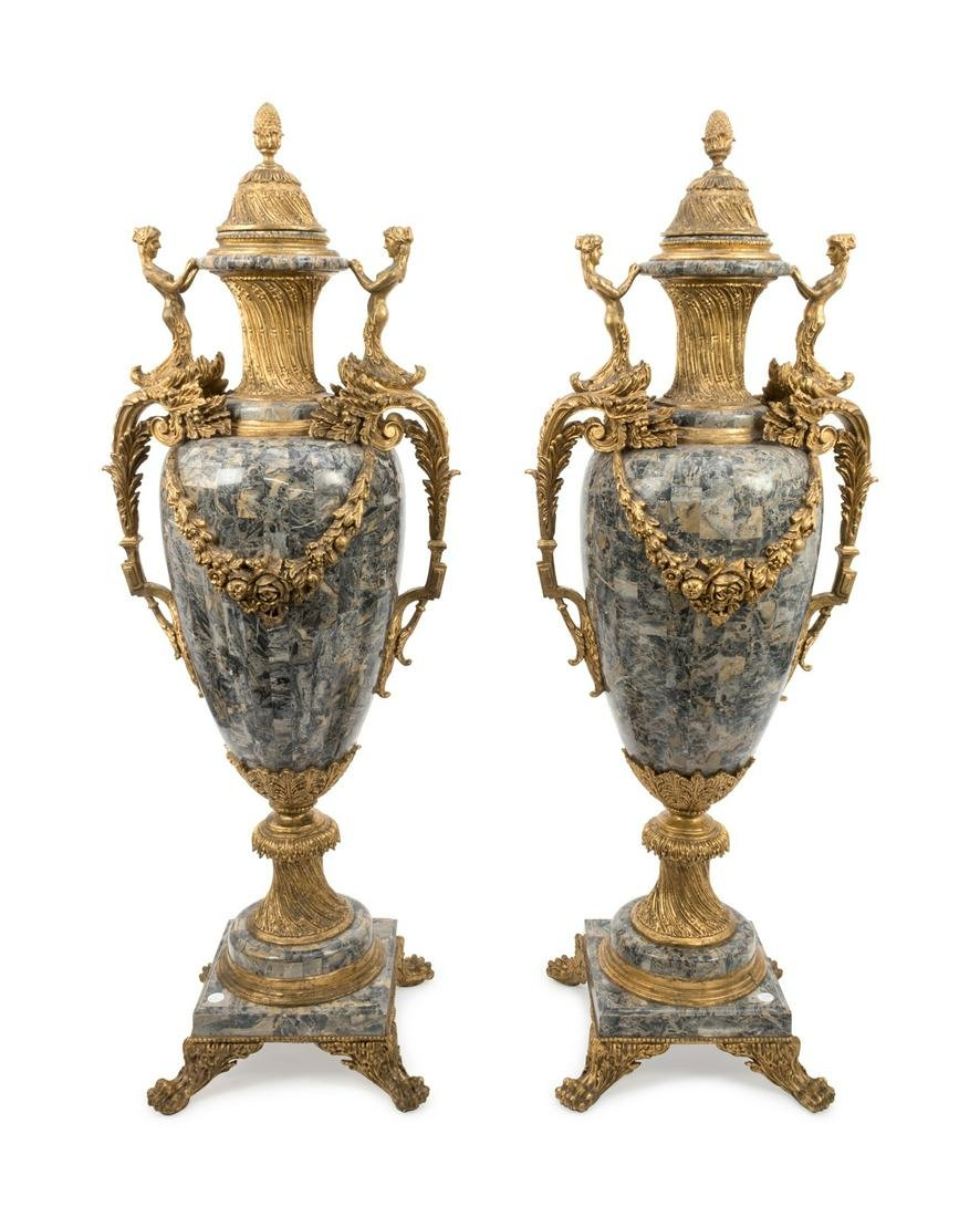 A Pair of Louis XV Style Monumental Faux Marble and