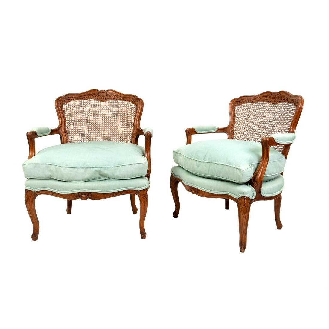 A Pair of French Provincial Louis XV Style Cane-Back