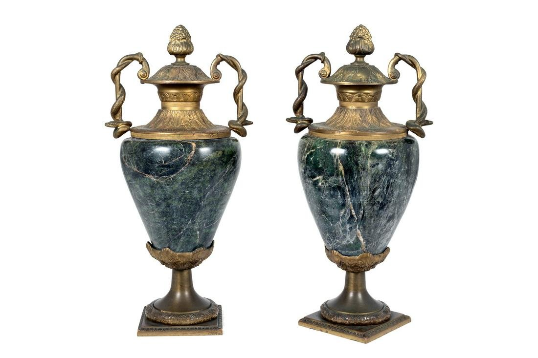 A Pair of Louis XV Style Bronze Mounted and Marble Urns
