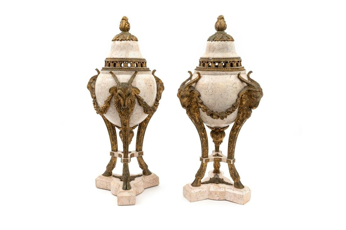 A Pair of Louis XV Style Faux Marble and Gilt Mounted