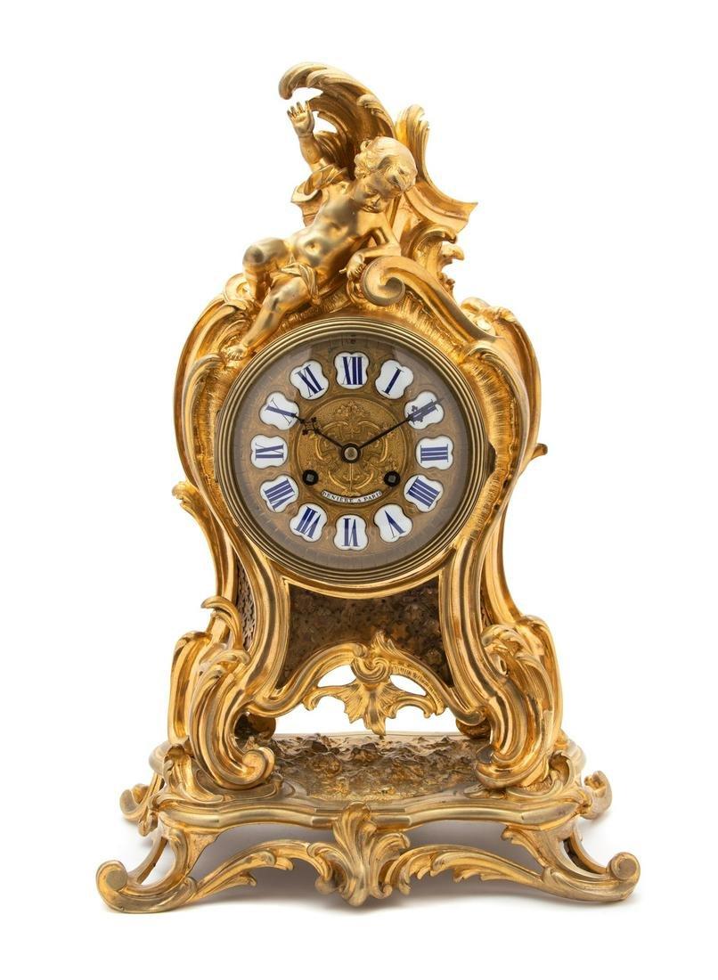 A Louis XV Style Gilt Bronze Shelf Clock Height 18 x