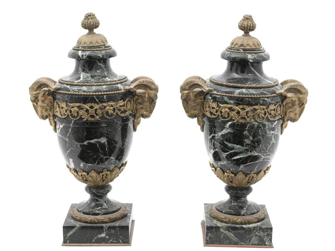 A Pair of Louis XV Style Gilt Bronze Mounted Marble