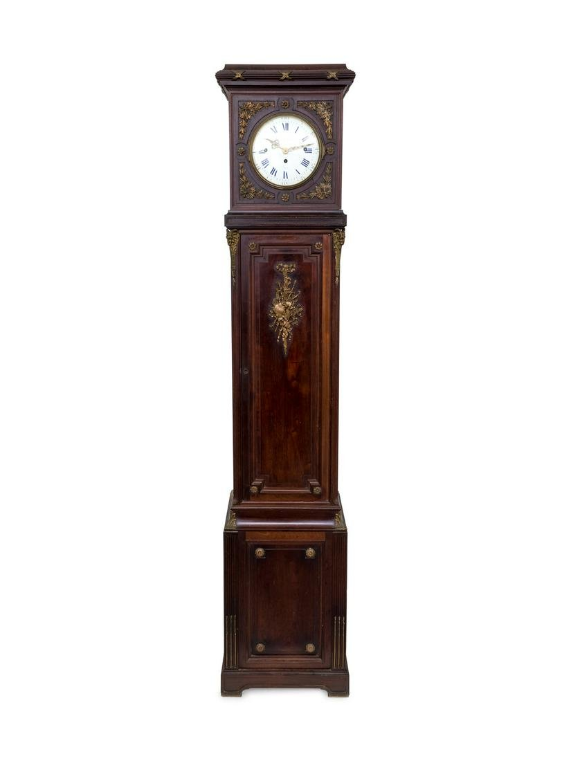 A French Gilt Bronze Mounted Carved Mahogany Tall Case
