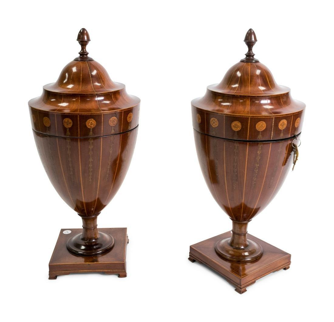 A Pair of George III Satinwood Inlaid Mahogany Urn-form