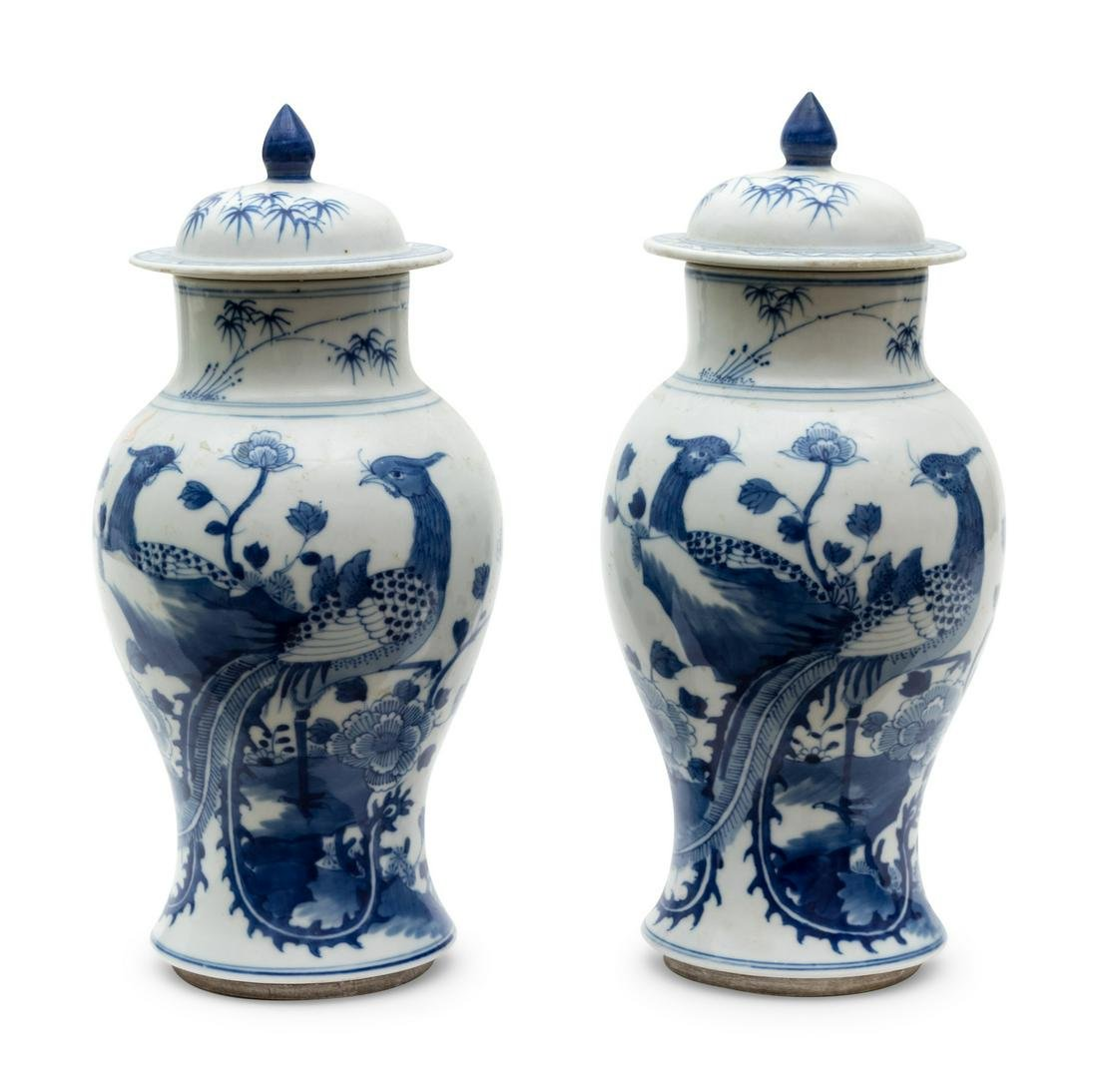 A Pair of Chinese Blue and White Porcelain Lidded Jars