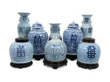 A Group of Eight Chinese Export Blue and White