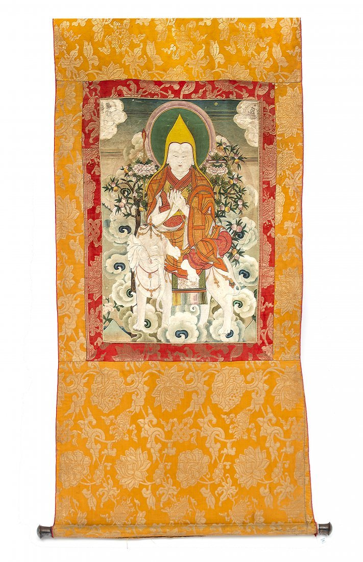 A Tibetan Thangka Length 50 inches.