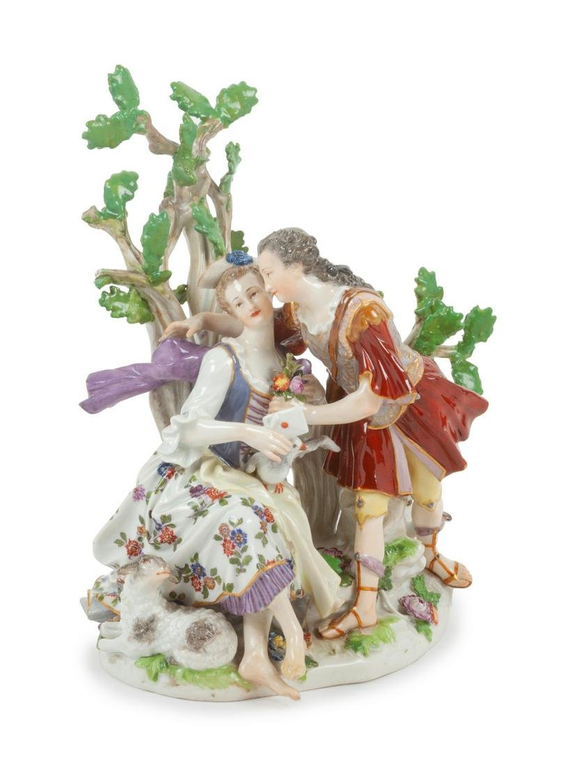 A Meissen Porcelain Figural Group Height 8 1/2 x width