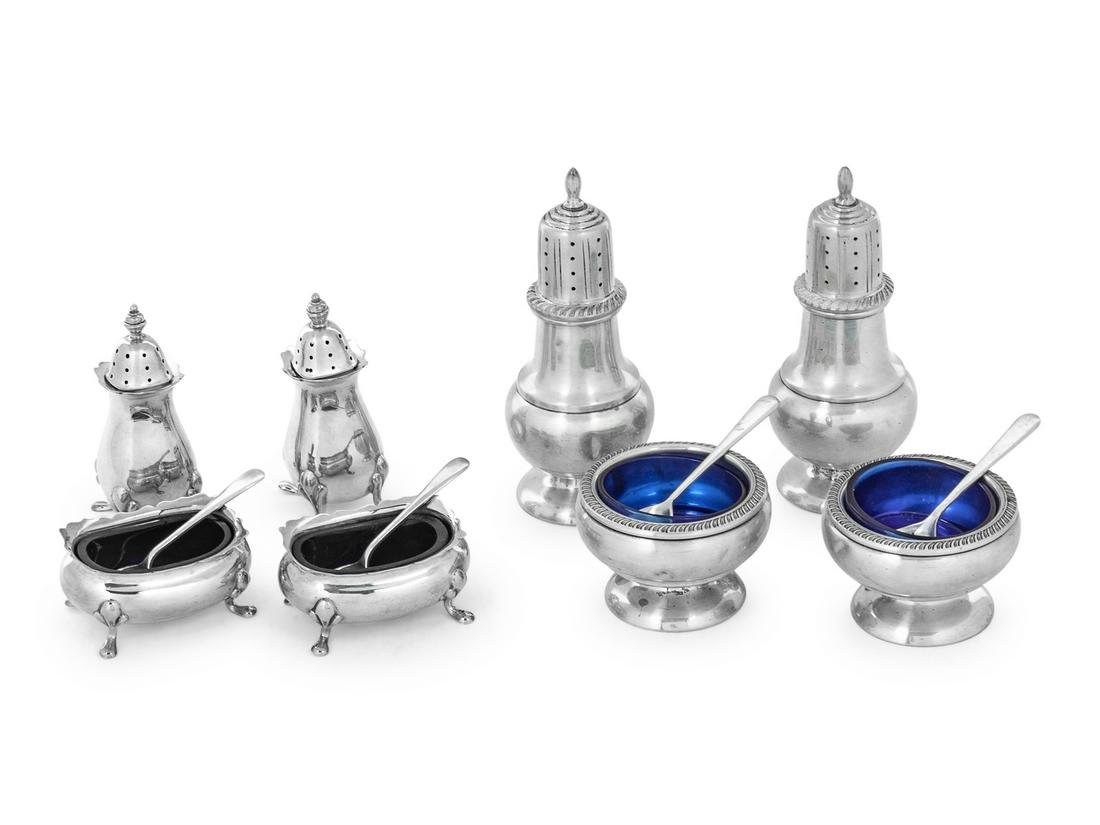 Two English and American Silver Salt and Pepper Sets