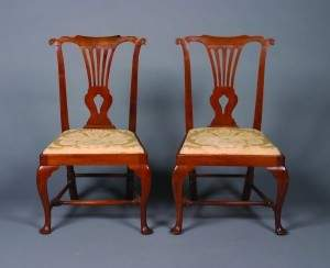 A Pair of George II Walnut Side Chairs,