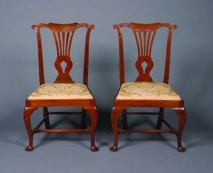8: A Pair of George II Walnut Side Chairs,