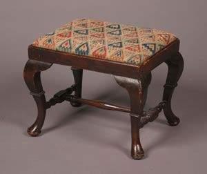 A George II Oak Footstool Height 16 x width 20 1/2 x