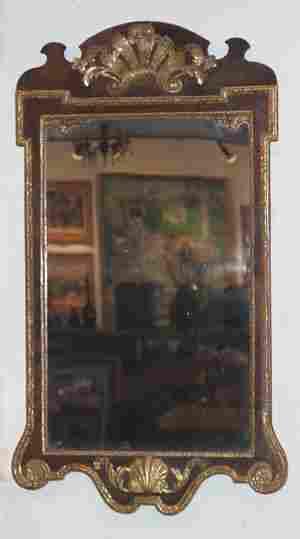 A George III Parcel Gilt Walnut Mirror, Height 45 x