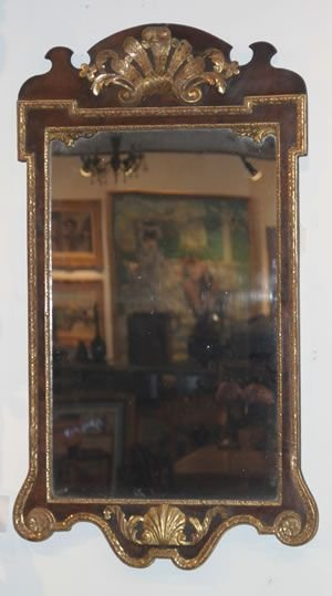 9A: A George III Parcel Gilt Walnut Mirror, Height 45 x