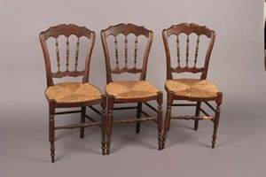 A Set of Three English Elm Side Chairs,