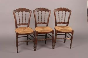 10: A Set of Three English Elm Side Chairs,
