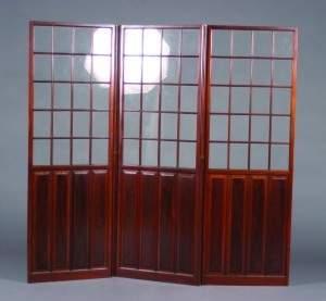 A Three Panel Mahogany Floor Screen, Height of each