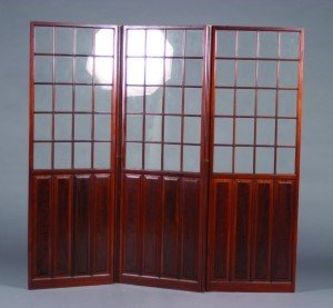 11: A Three Panel Mahogany Floor Screen, Height of each