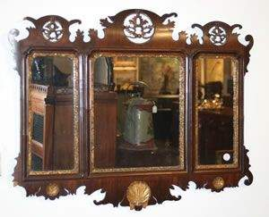 A Chippendale Mahogany and Parcel-Gilt Wall Mirror