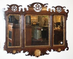 11E: A Chippendale Mahogany and Parcel-Gilt Wall Mirror