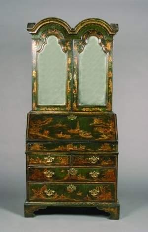 A George II Japanned Bureau-Cabinet, Height 82 x w