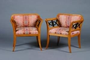 202: A Pair of Beidermeier Open Armchairs,