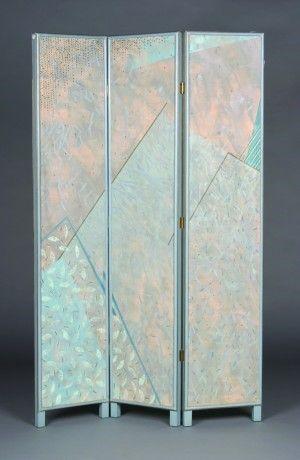 279: A Three Panel Canvas Floor Screen, Height 72 x wid