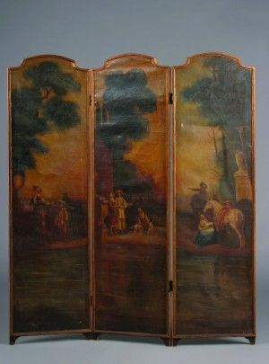 280: A Three Panel Painted Canvas Floor Screen, Height