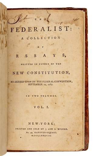 [THE FEDERALIST PAPERS]. -- [HAMILTON, Alexander