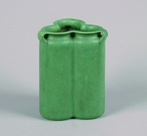1268: A Teco Pottery Matte Green Vase Height 9 1/4 inch