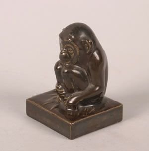 1270: A Rookwood Figure of a Monkey, Height 4 1/2 inche