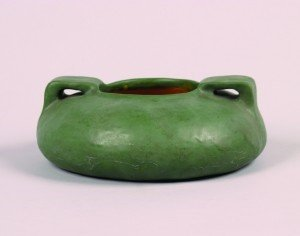 1276: A Matte Green Glazed Art Pottery Low Vase, Height