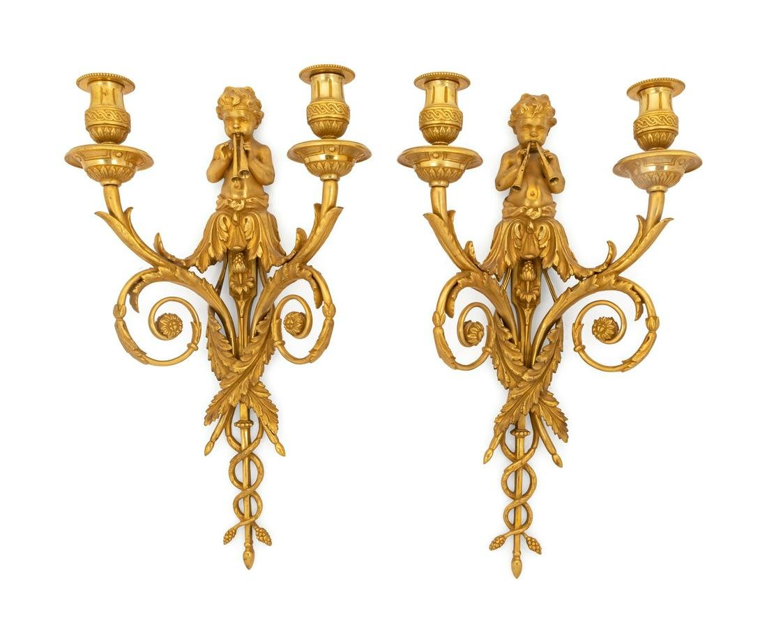 A Pair of French Gilt Bronze Two-Light Sconces