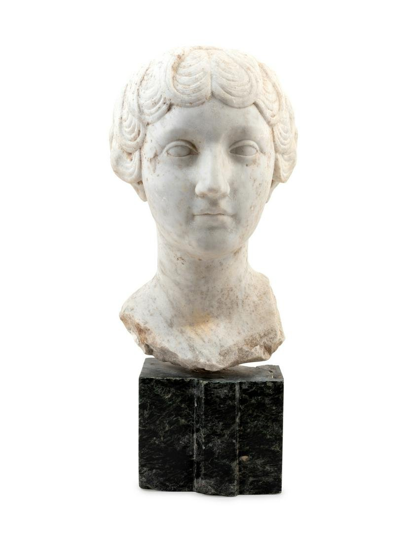 A Continental Marble Bust of a Woman