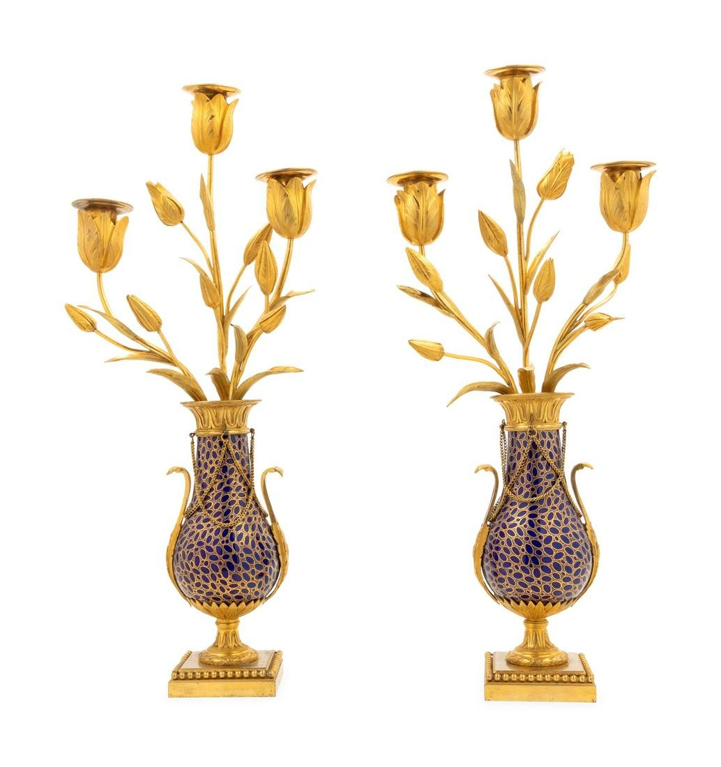 A Pair of Continental Gilt Bronze and Enameled