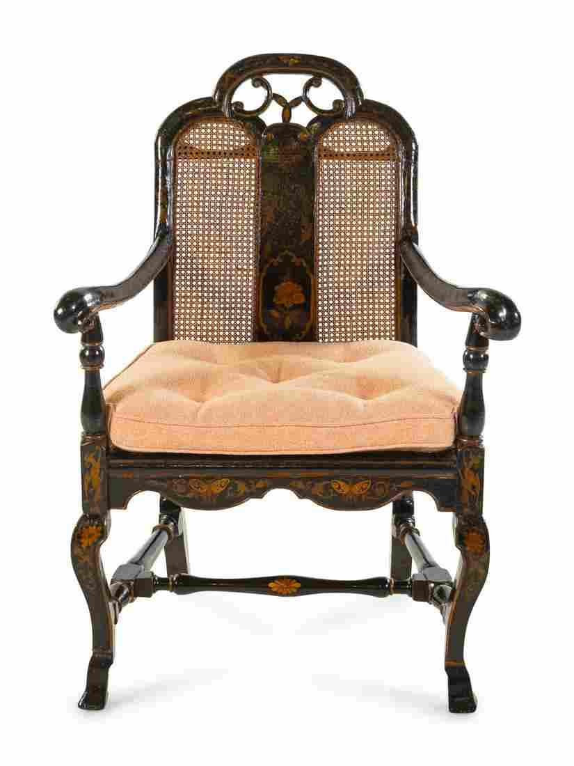 A Dutch Chinoiserie-Lacquered Armchair