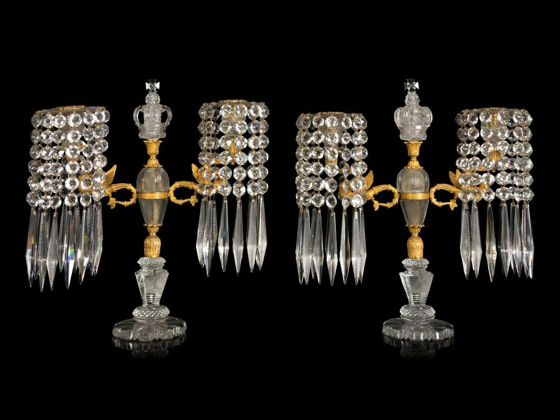 A Pair of Charles X Gilt Bronze Mounted Cut Crystal