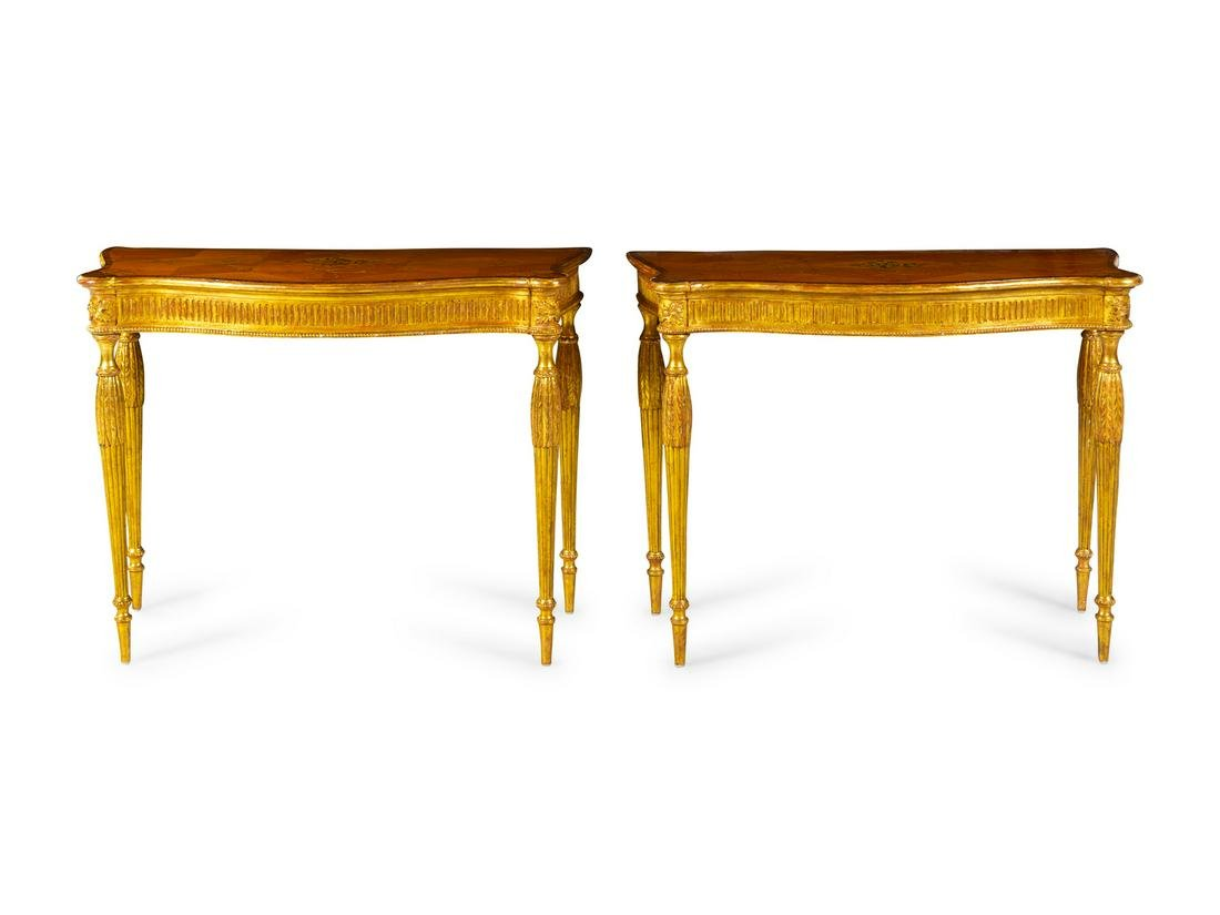 A Pair of George III Satinwood, Marquetry and Giltwood