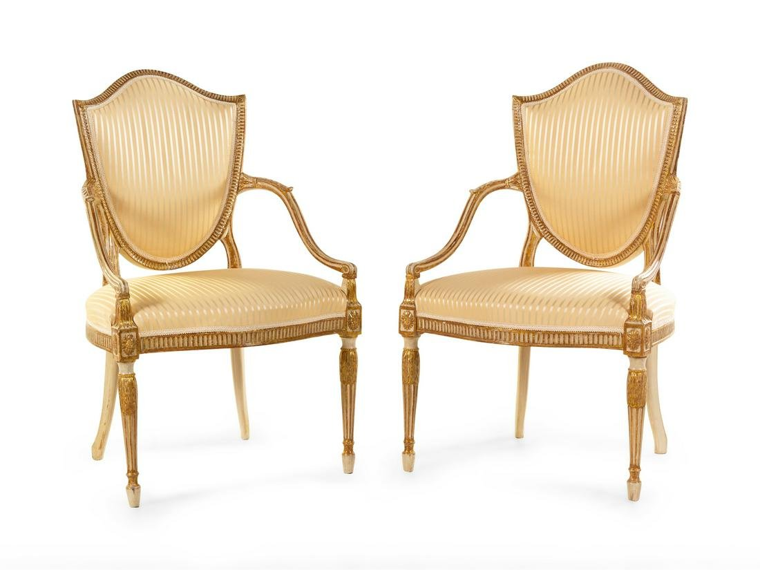 A Pair of George III Cream-Painted and Parcel Gilt