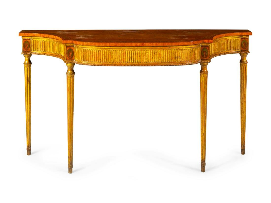 A George III Marquetry, Satinwood and Giltwood Console