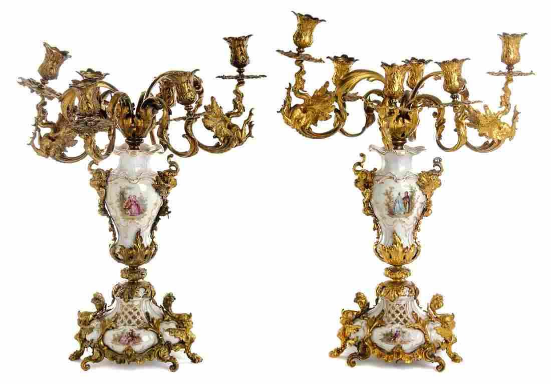 A Pair of Gilt Bronze and Berlin (K.P.M.) Porcelain
