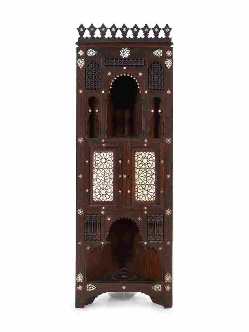 An Ottoman Turkish Carved and Inlaid Corner Cabinet