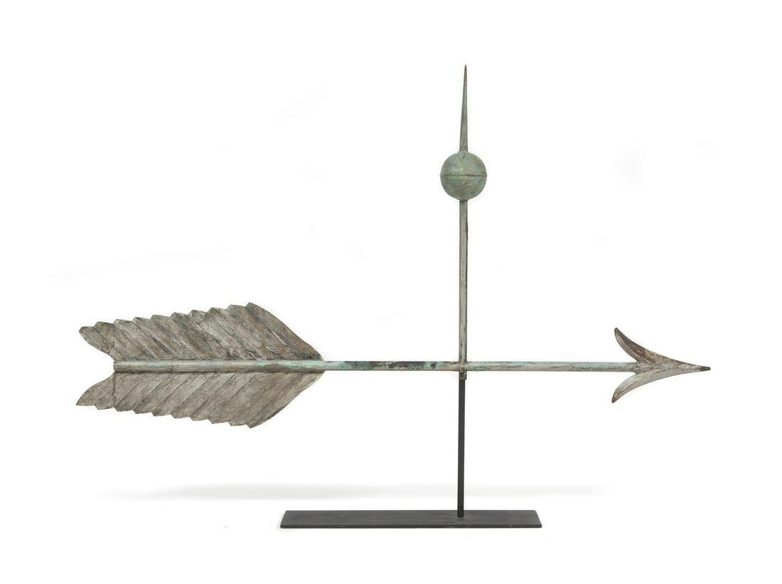 A Molded Copper and Cast Zinc Arrow Weathervane